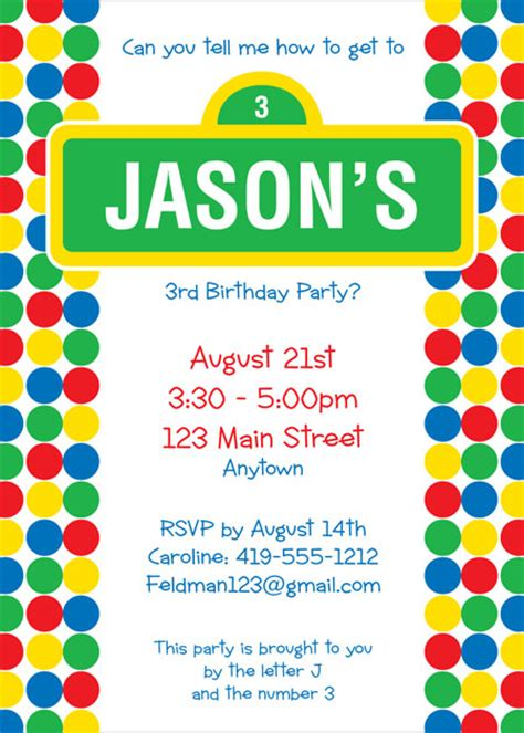 sesame invitation template sesame birthday invitations template best