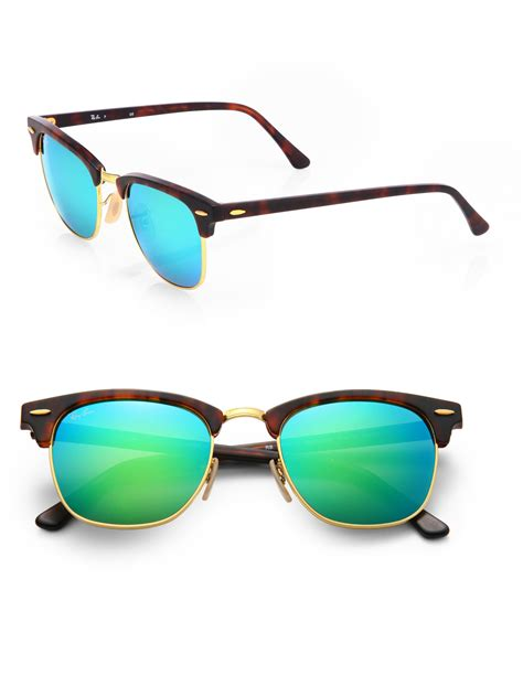 Rayban R8013 Black Green Lens ban clubmaster mirrored lens sunglasses in green for lyst