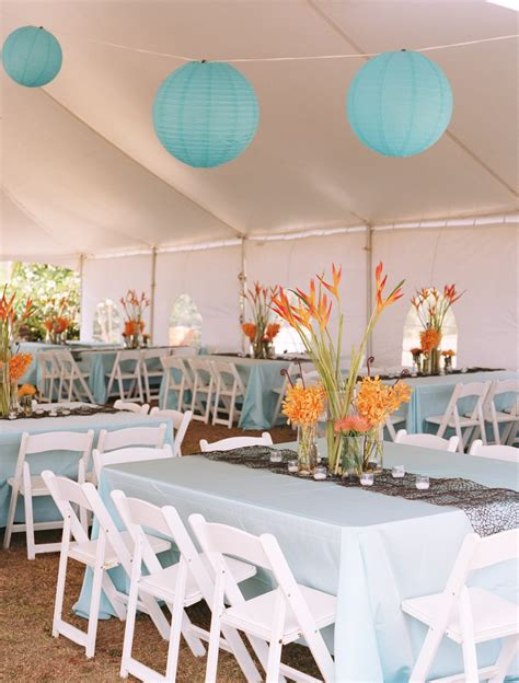 orange and blue decor the tented receptions palette of crisp white turquoise and