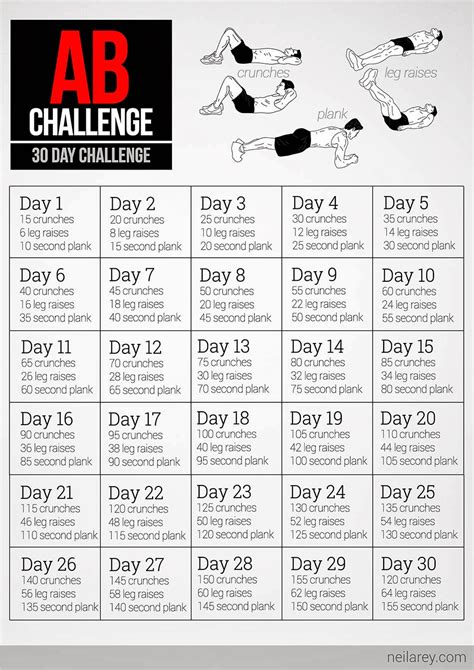 30 day workout plan for men at home 30 day abs challenge pdf google search health and