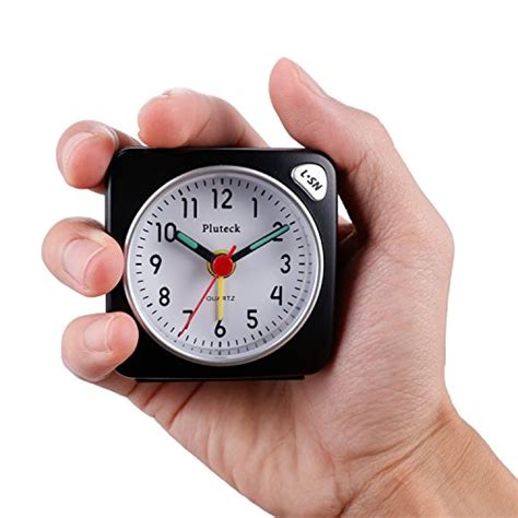 pluteck non ticking travel alarm clock with light and snooze ascending sound alarm simple to set