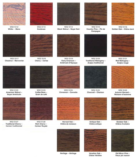 Woods L Color Chart by Wood Stain Colors Crowdbuild For