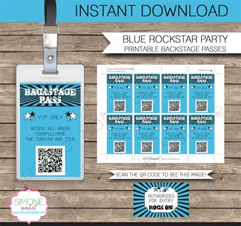 backstage pass template rockstar backstage pass printable insert instant