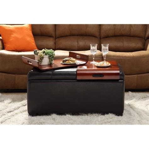 storage ottomans with tray espresso storage tray ottoman 163020e