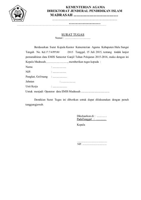Contoh Surat Tugas by Contoh Surat Tugas Operator Emis