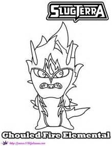 Ghoul Fire Elemental Coloring Page From Slugterra Return Of The  sketch template