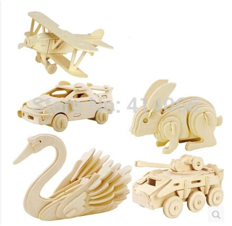 3d three dimensional wooden animal jigsaw puzzle toys for