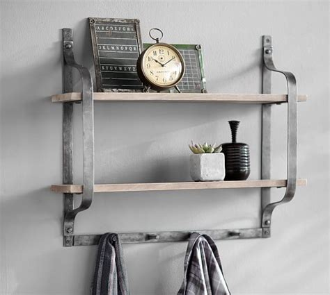 Pottery Barn Shelf With Hooks rustic pine shelf with hooks pottery barn