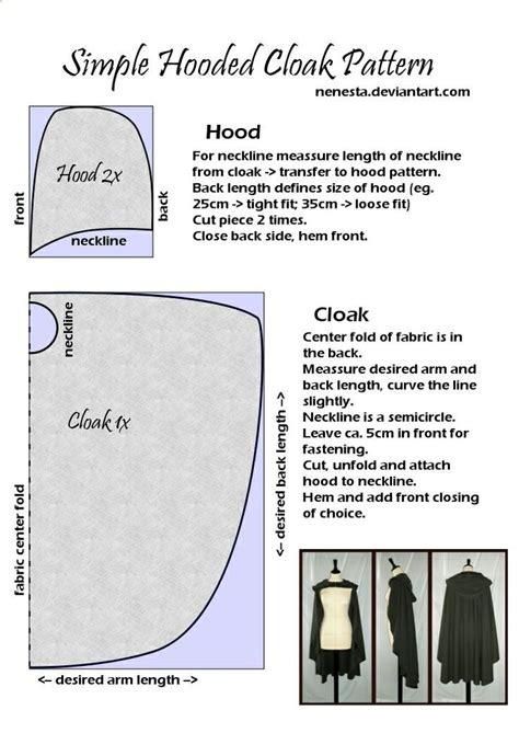 simple pattern for a cape simple hooded cloak pattern sewing pinterest