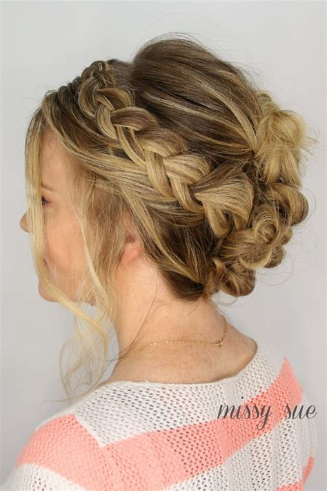 casual hairstyles with braids casual braid and bun updo my style pinterest casual