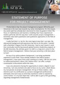 writing mba statement of purpose for project management
