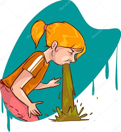 Imagenes Animadas Vomitando | vector ilustraci 243 n de una chica de v 243 mito archivo