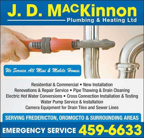 D And B Plumbing by Mackinnon J D Plumbing Heating Ltd Fredericton Nb