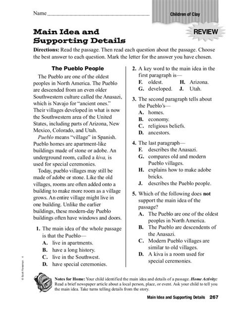 printable worksheets main idea and supporting details printable comprehension worksheets 3rd grade