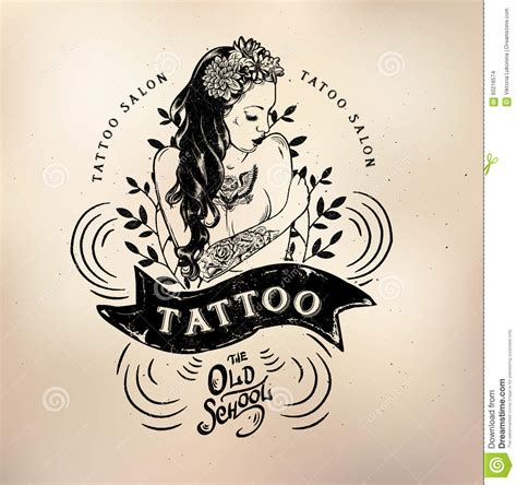 tattoo old studio skull stock vector