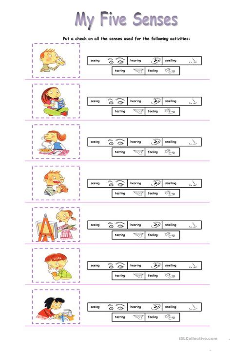 free five senses worksheets for preschoolers