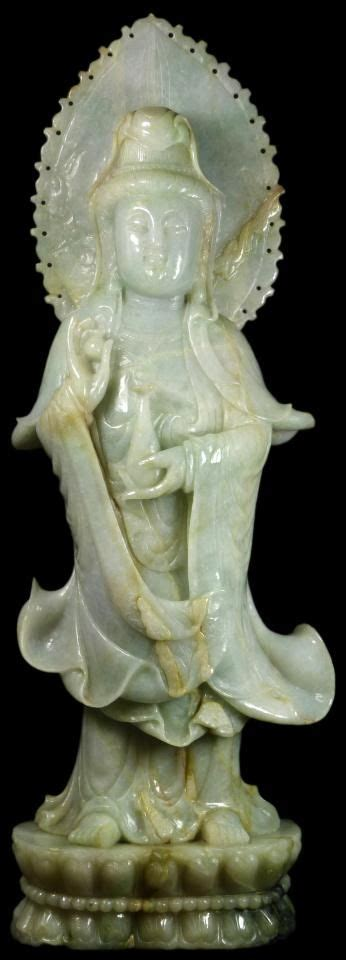 Hand Vase 19th C Chinese Carved Jadeite Statue Of Guan Yin Antique