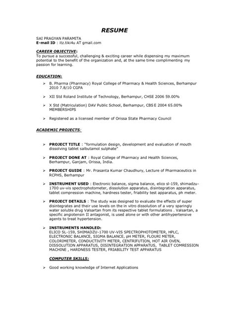 sle resume for freshers b pharma free b pharm fresher resume