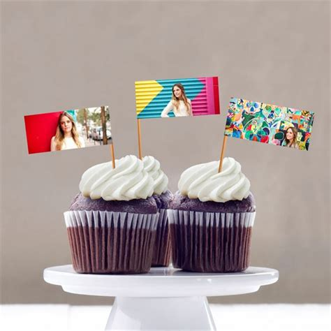 mini photo cupcake flags graduation party decorations custom designs