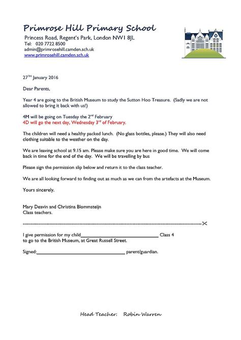 Permission Letter Parents School Trip Letters Home Primrose Hill Primary School
