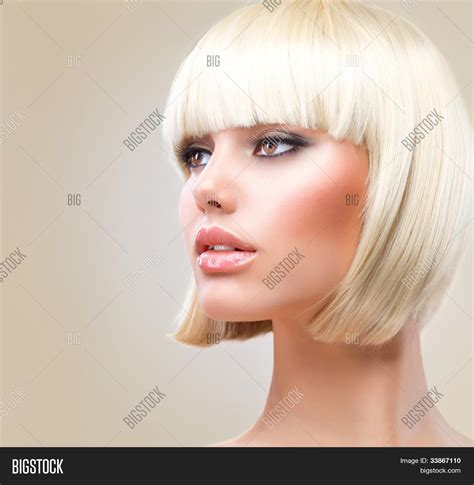 beautiful model with elegant hairstyle stock photo haircut hairstyle beautiful model with short blond hair