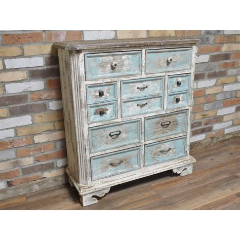 large antique white blue rustic 9 drawer chest of drawers