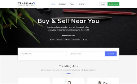 search page template bootstrap 4 classified website template from