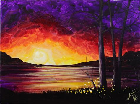 acrylic paint canvas summer sunset at the lake step by step acrylic painting on