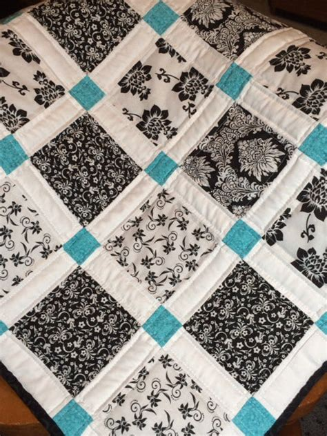 black and white baby quilt pattern modern baby quilt black white and teal colors teal