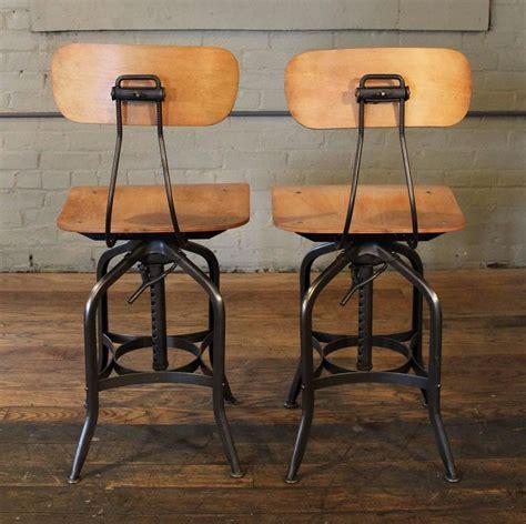 Bent Plywood Stool by Pair Of Bent Plywood Vintage Industrial Toledo Adjustable