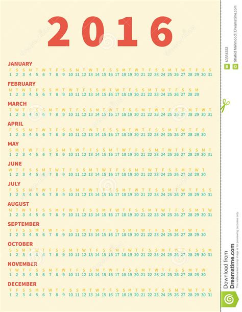 calendar poster template poster calendar for 2016 week starts monday stock vector