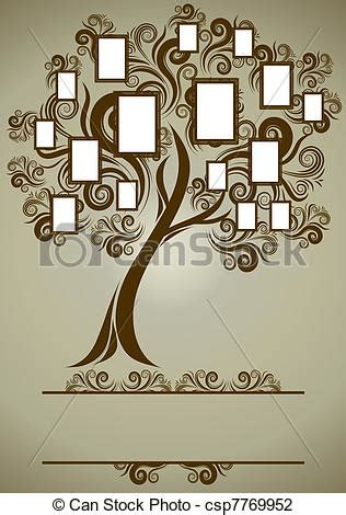 Vector Family Tree Design With Frames And Autumn Leafs Place For Text Family Tree Template Vintage Vector