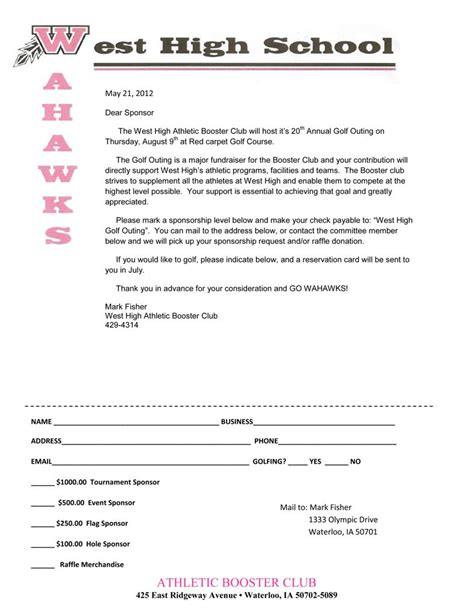 Sponsorship Letter For High School 20th Annual West High Golf Outing Info