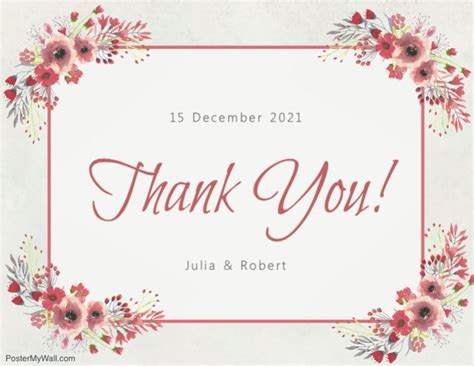 Thank You Card Template Flowers by Copy Of Floral Thank You Card Template Postermywall