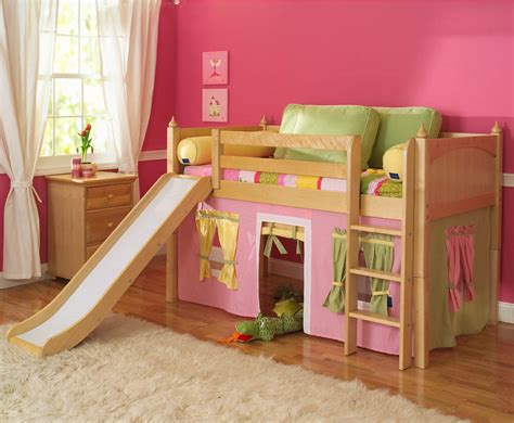 girl loft beds playhouse low loft bed w slide by maxtrix kids pink yellow green on natural 320 1s