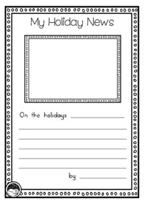 freebie holiday recount writing template for prep kindy