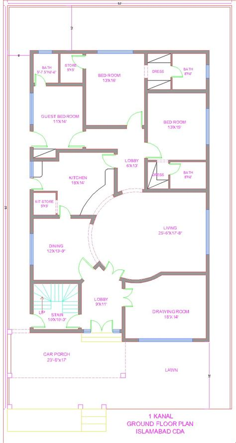 plan the approximate layout of the building 3d front elevation com 1 kanal house plan cda islamabad