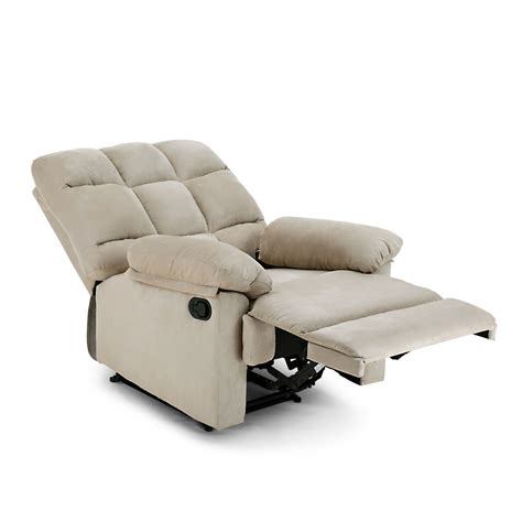 Sofa Bed With Recliner Faux Suede Recliner Sofa Chair Detachable Armrests Sleeper Futon Bed Beige Ebay
