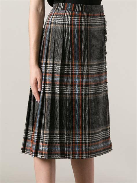 Pleated Plaid Skirt lyst msgm pleated plaid skirt in gray