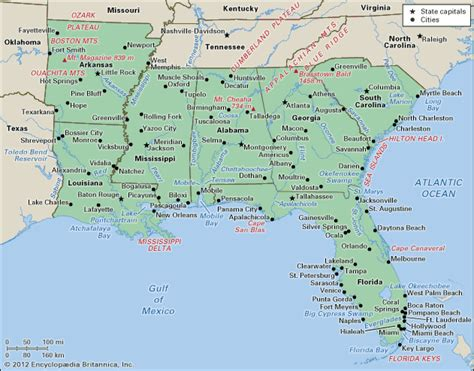 map of the south united states south encyclopedia children s homework help