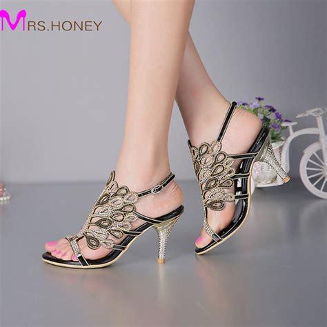 Heel Sandals For Wedding by Stiletto Heel Sandals Strappy Summer Sandals Black