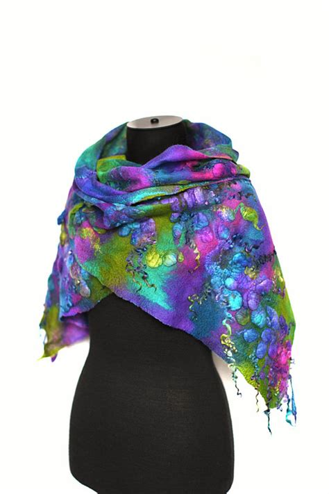 felted scarf textured wool silk dyed multicolor