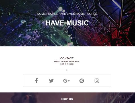 template muse band one page template responsive muse templates widgets