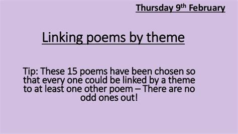 theme list for poems 10 l2 poetry themes