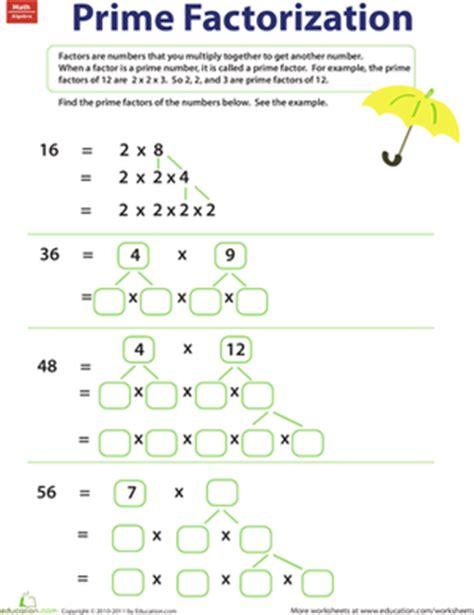 Prime Numbers Worksheet 5th Grade by Prime Factorization Worksheet Education