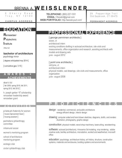 architecture student resume sle resume format resume format for architecture students