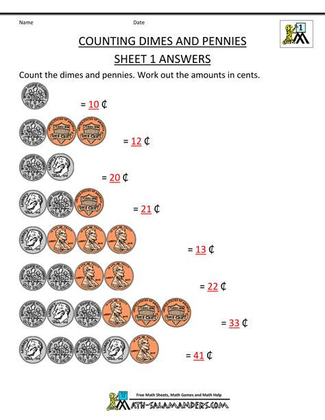 Counting Coins 1 10 Belanbe counting money worksheets 1st grade