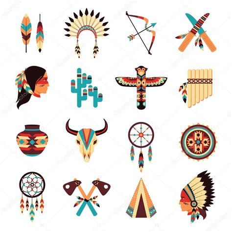 imagenes de simbolos indios ethnic american indigenous icons set stock vector