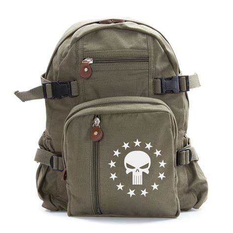 vintage style army green canvas backpack 13 punisher