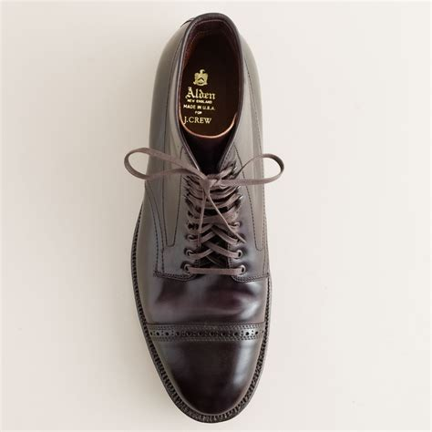 j crew alden cap toe cordovan boots in purple for